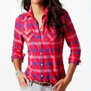 AE Flannel Button Down Long Sleeve Plaid